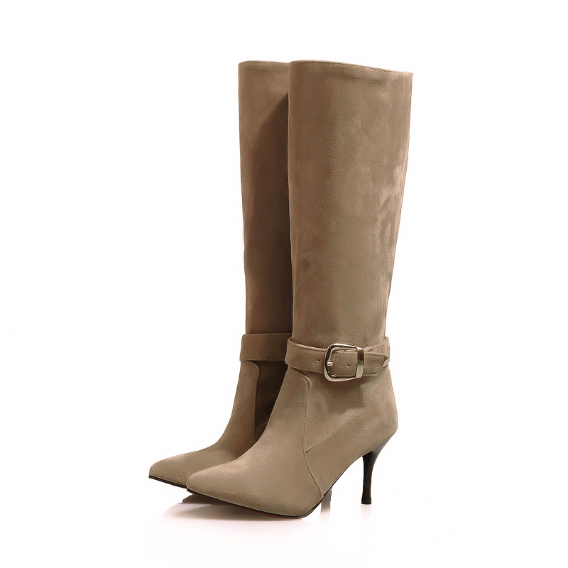 New Hot Sales Sexy Black Brown Yellow Beige Women Knee High Riding Boots Ladies Shoes High Heels A1-3B Plus Big Size 32 45 11 brand new hot sales women nude ankle boots red black buckle ladies riding spike shoes high heels emb08 plus big size 32 45 11