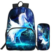 Special Offer Hot Sale Suit Oxford 16 Inch Prints Mythical Animals Teenager School Bags Horse Kids