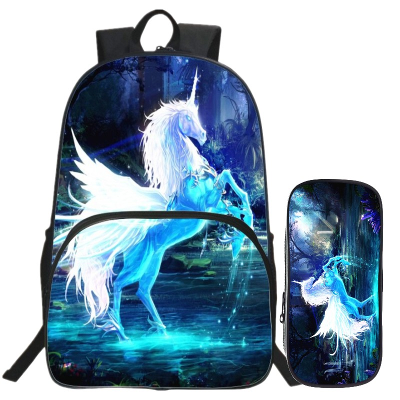 Special Offer Hot Sale Suit Oxford 16 Inch Prints Mythical Animals Teenager School Bags Horse font