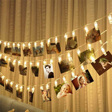BHomify 1M 3M 4M Card Pictures Photos Clips Pegs Bright LED String Light Battery Power Indoor Home Party Festival Wedding Decor(China)
