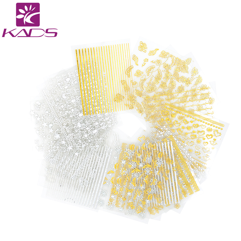 KADS New Fashion  36pcs/set 3D Lace&Butterfly&Heart Gold&Silver Image Nail Art Transfer Water Decals Beauty DIY Decorations kads new 36pcs set 3d nail art transfer stickers happy halloween design cool skull image nail art decoration tools