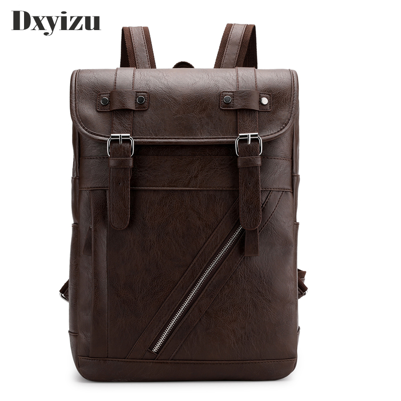 Backpackers Men Retro Korean Edition College Style 2019 New PU Leather Waterproof Popular Easy Matching Simple Nice Backpacks