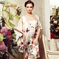 Caisilk  summer quality silk nightgown female mulberry silk plus size loose sleepwear robe batwing sleeve