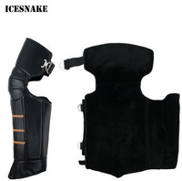 ICESNAKE Genuine Leather Motorcycle Knee Pads Mountain Bike Outdoor Sports Motorcross Kneepad Moto Racing Protective Gear