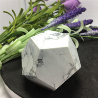 Natural White Stone Polyhedron Crystal Stone Polished 12 Facets Specimen Minerals Healing Stone Home Decoration