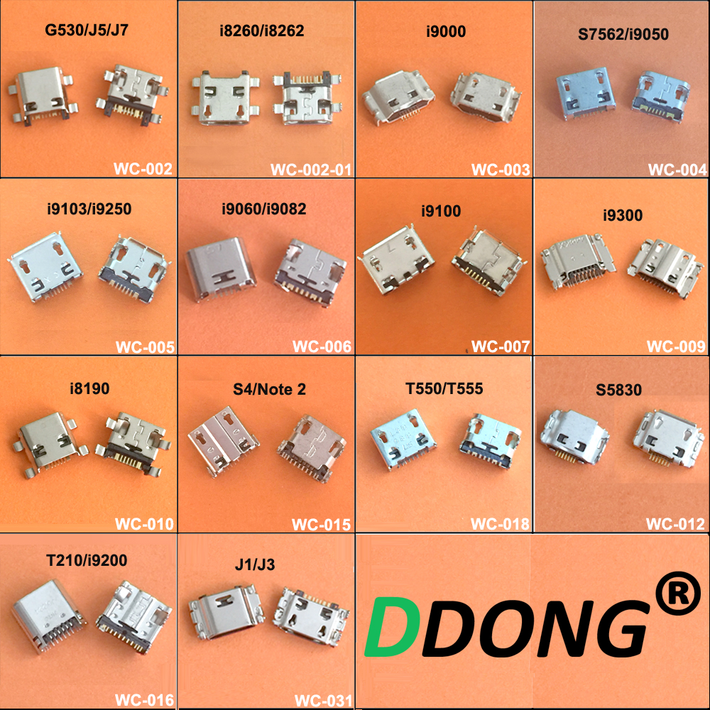 14Model 14PCS For Samsung I8260 G530 S3 I9300 S4 N7100 J3 J7 J5 T210 T550 I9082 USB Charging Port Connector Plug Jack Socket