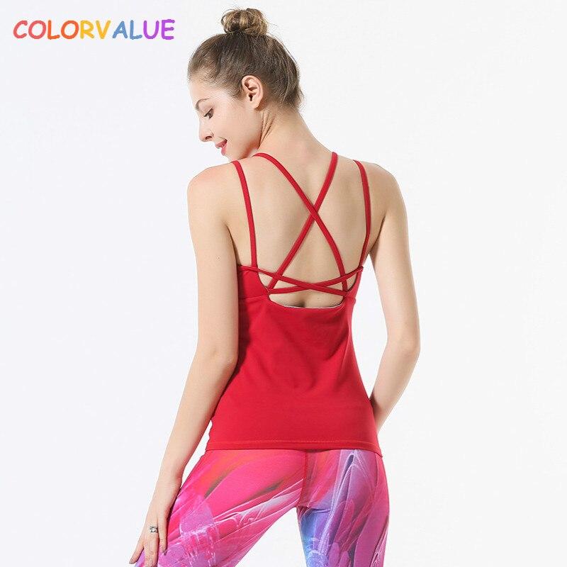 Colorvalue Front Mesh Solid Yoga Fitness Vest Women Removable Pads Slim Fit Sport Dance Tank Tops Back Cross Nylon Workout Vest