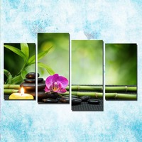 4 Pieces ZEN Stone Bamboo Buddhism Art Canvas Poster 24x36 Inch For Living Room 001
