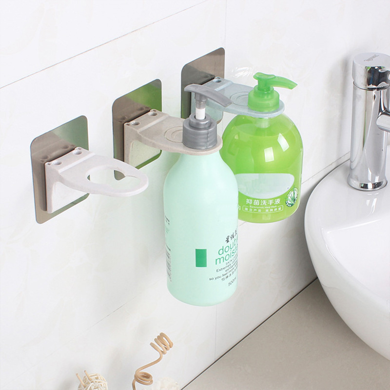 Bathroom Accessories Wall Mounted Plastic Shampoo Bottle Shelf Shower Gel Rack Liquid Soap Holder Self Adhesive Shelves Hanger