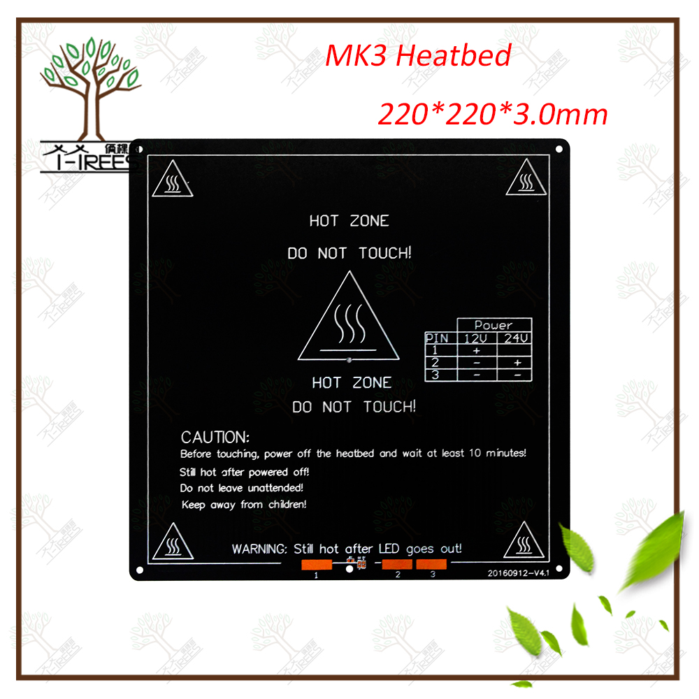 Aluminium heat bed MK3 12V/24V Part For Reprap Mendel hot HotBed 3D Heatbed Part MK3-220*220*3mm Aluminium Plate 3mm reprap mk3 3d printer heatbed standard aluminum plate 3mm pcb hot bed