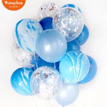 21 шт./лот конфетти шары синий мрамор шары из латекса дети с днем рождения украшения домашний декор комнаты Baby Shower Свадьба
