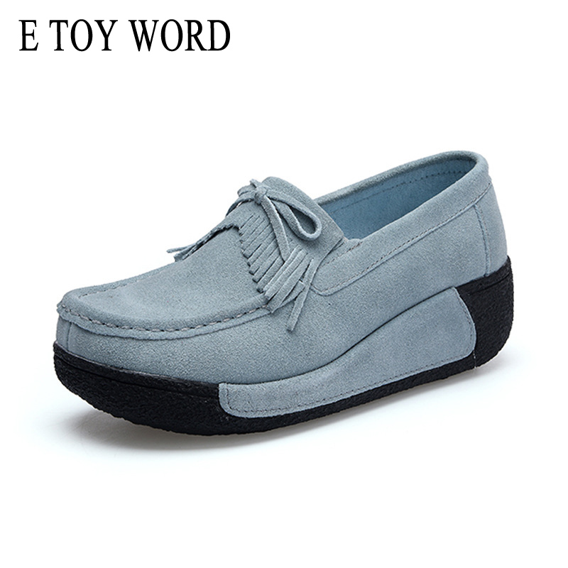 E TOY WORD Women Cow Suede Flats Thick Bottom Tassel Fashion Mother Nurse Shoes Creepers Platform Shoes Plus Size 35-42 DH4362 e toy word canvas shoes women han edition 2017 spring cowboy increased thick soles casual shoes female side zip jeans blue 35 40