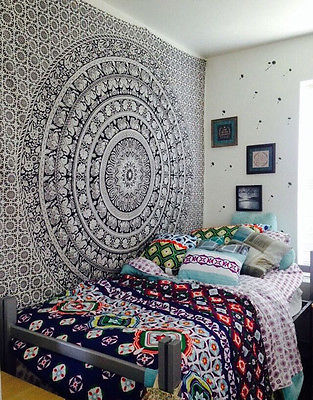 Charming 150X 200cm Indian Mandala Hippie Tapestry Bedroom Wall Hanging Square Boho  Room Decor Tapestry