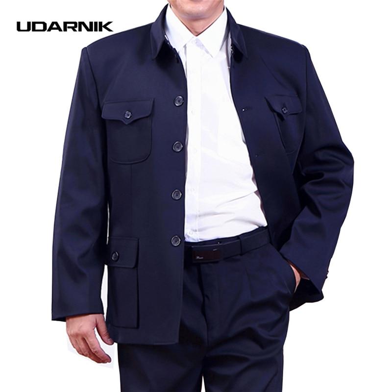 Men Single Breasted Mao Jacket Chinese Tunic Blazer Coat Zhongshan Slim Fit New