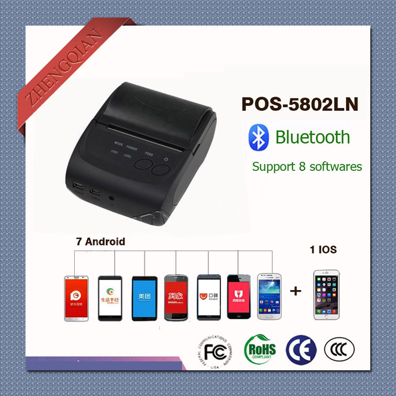 58mm Portable Thermal Bluetooth Receipt Printer POS-5802LN support windows ISO Iphone system and 7pcs Android phone
