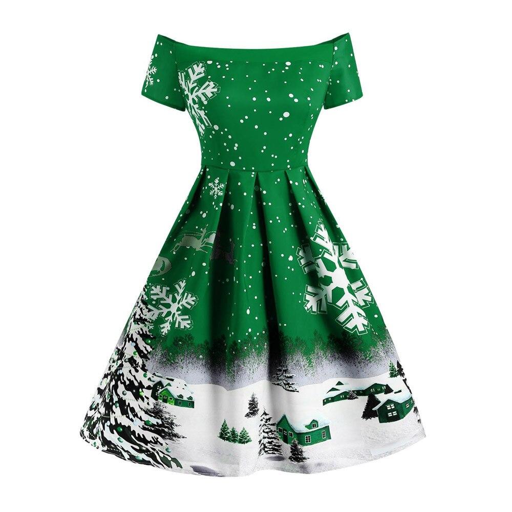 Plus Size Vintage Women Fashion Christmas Kitten Pattern Party Swing Maxi Dress