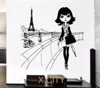 Wall Decal Paris Eiffel Tower France Europe Fashion Girl Decor For Bedroom Vinyl Sticker Art Decor