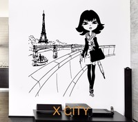 Wall Decal Paris Eiffel Tower France Europe Fashion Girl Decor For Bedroom Vinyl Sticker Art Decor