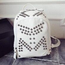 2016 новый колледж ветер плеча сумку новый заклепки пу кожа школьный студент мешок mochila feminina рюкзаки для девочек