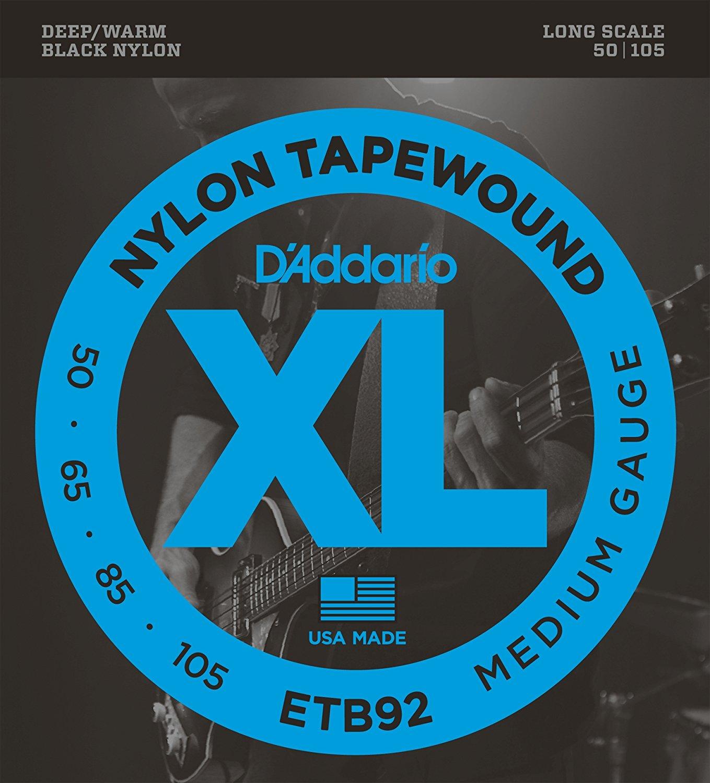 D'Addario ETB92 cordes de guitare basse tapebobinées, moyen, 50-105, longue échelle