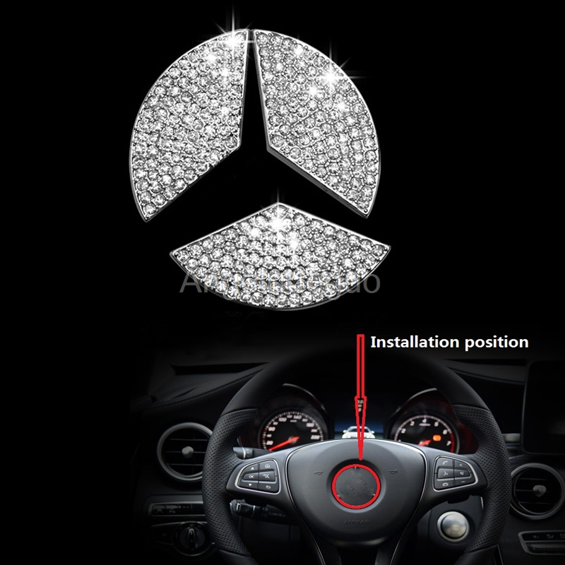 Angelguoguo car steering wheel emblem 3d sticker for for Mercedes benz service a checklist