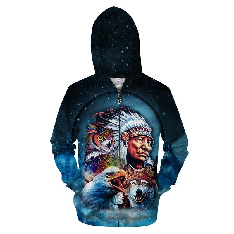 Wolf Zipper Hoodies Zip Hoody Men Women Tracksuit Autumn Sweatshirts Pullover Coat LongSleeve Streetwear DropShip  EU SIZE