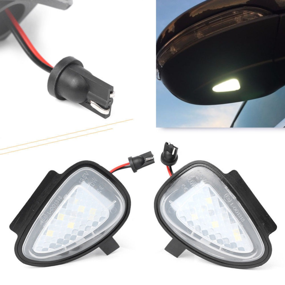 Niscarda 2Pcs LED Side Mirror Puddle Light Under Rear View Ground Lamp for Volkswagen Golf 6 Cabriolet White 6000K Error Free