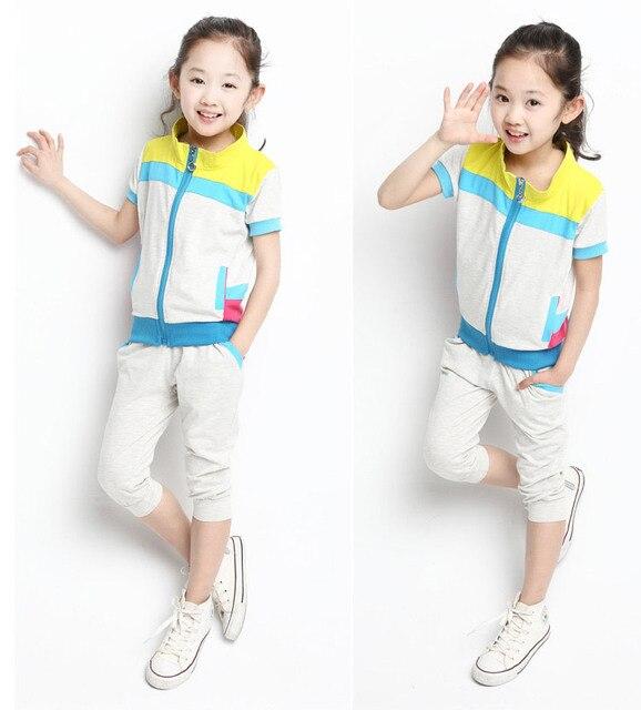 2016 Новая девушка вскользь Летние одежда, детская одежда наборы, хлопок футболка + половина брюки 2 шт, подросток спортивные костюмы 110-160
