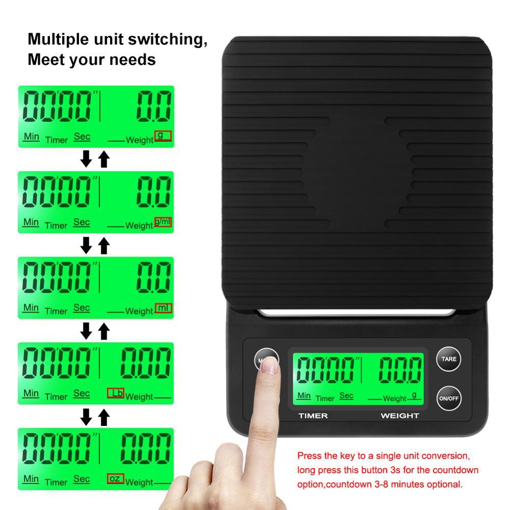 Электронные кухонные весы, высокоточные с таймером 3 кг/0,1 г 5 кг/0,1 г с ЖК-экраном-4