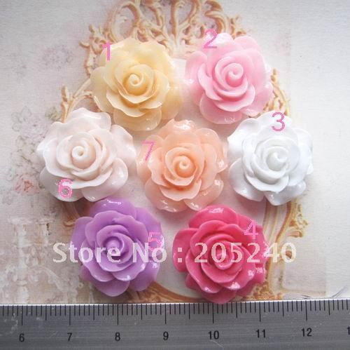 free shipping! 35pcs flat back resin flower many colors mixed 35pcs 21mm