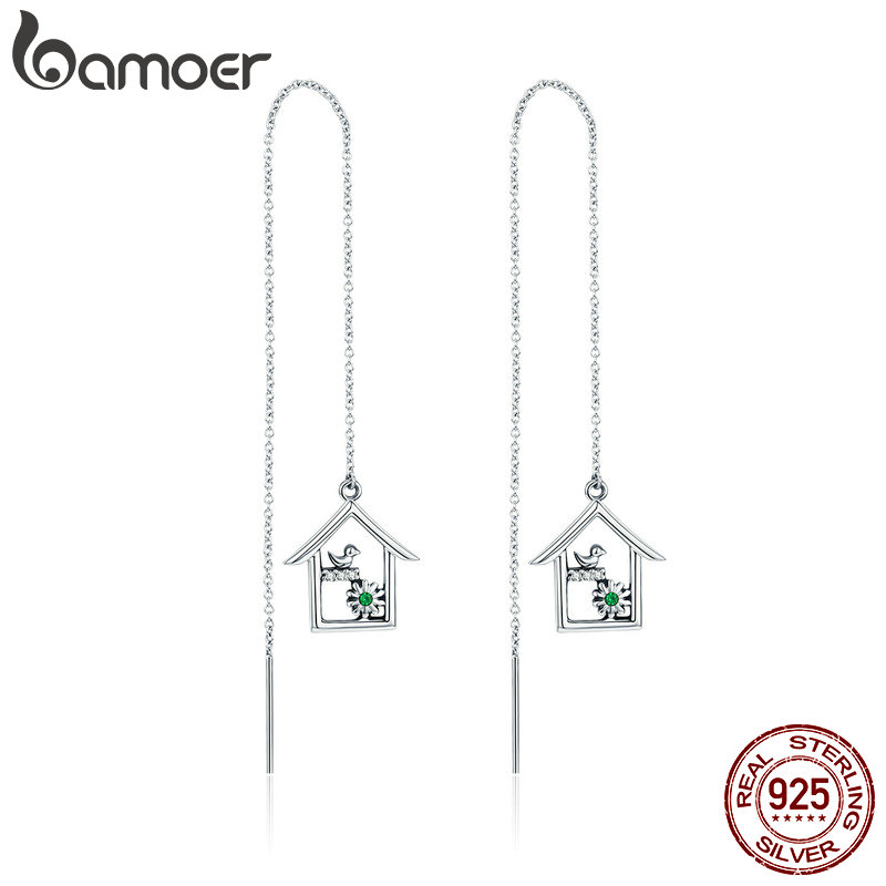 BAMOER New Arrival 925 Sterling Silver Spring Collection House Home Shape Long Chain Drop Earrings for Women Jewelry Gift SCE307 silver long chain hanging earrings moon star shape