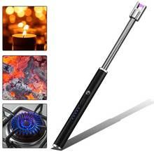 Более гибкий плазменной дусветодио дный Ги Зажигалка led батарея дисплей электрическая зажигалка с подключением к USB кухня зажигалка для свечей для принадлежности шашлыков пособия по кулинарии