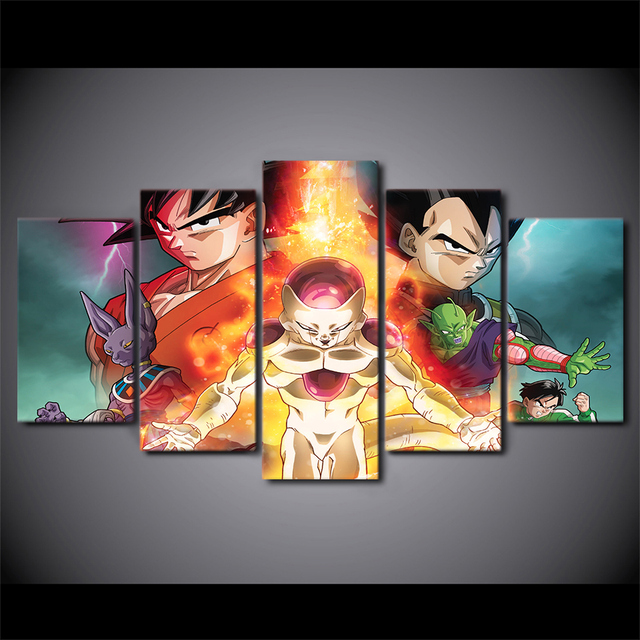 Artsailing 5 Piece Canvas Art Dragon Ball Z Movie Poster Wall Pictures Living Room
