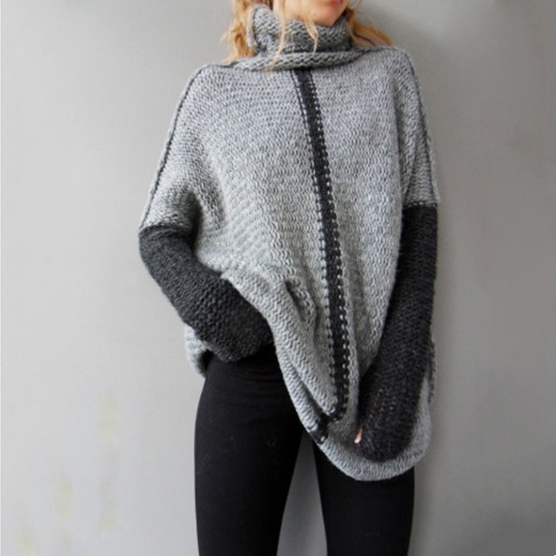 2018 Turtleneck winter Women Knitted Sweaters Pullovers Long Sleeve patchwork Slim Elastic female Soft warm autumn casual jumper
