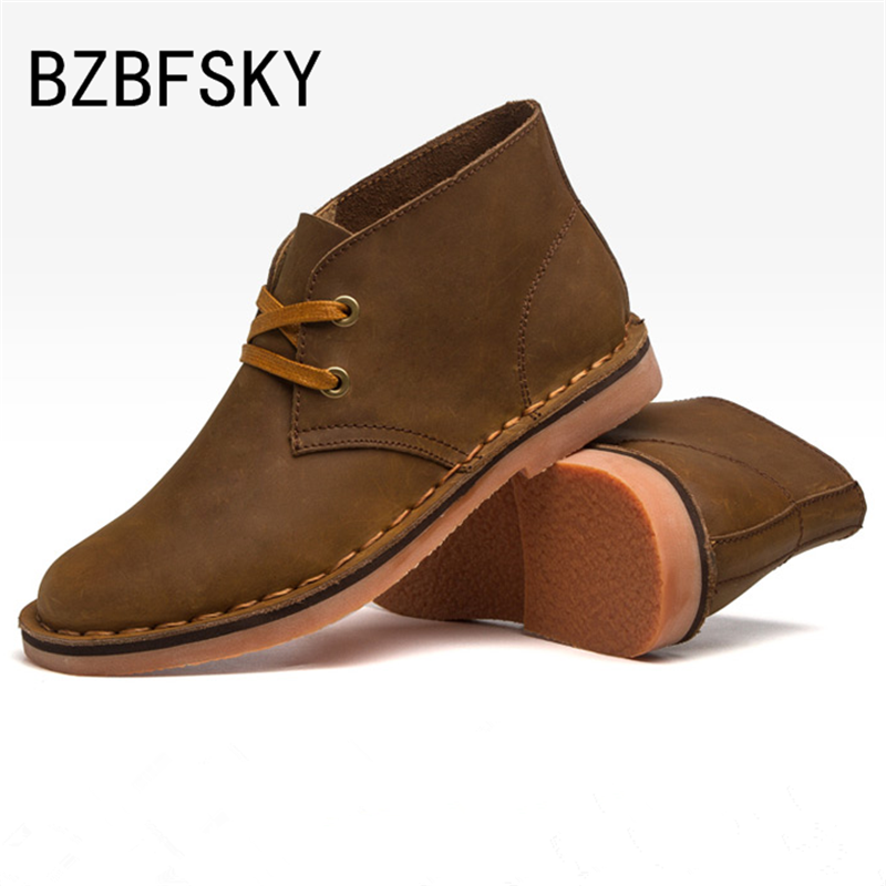 BZBFSKY New Hot Classic Leather Tooling Boots Crazy Horse Men Fashion Desert Boot Popular High Top Shoes Autumn Winter Flats