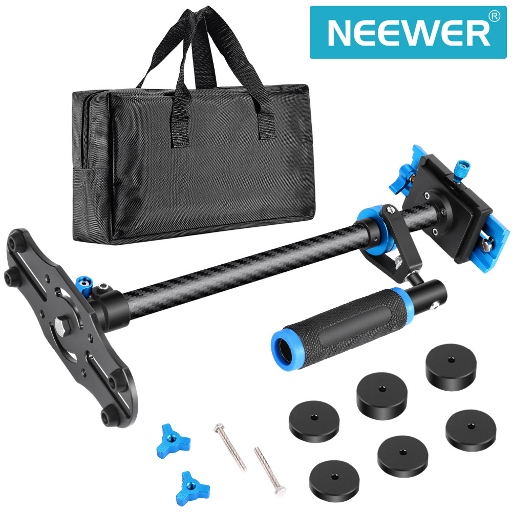 Neewer Carbon Fiber 24 inches/60 cm Handheld Stabilizer 1/4 3/8 inch Screw Quick Shoe Plate for Canon/Nikon/Sony ashanks mini carbon fiber handheld