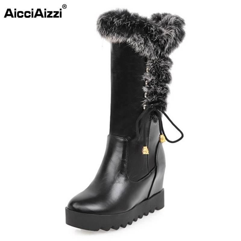 AicciAizzi Size 33-43 Women Wedges Boots Cross Strap Half Short Boots Warm Shoes Inside Heel Mid Calf Botas For Women Footwears double buckle cross straps mid calf boots