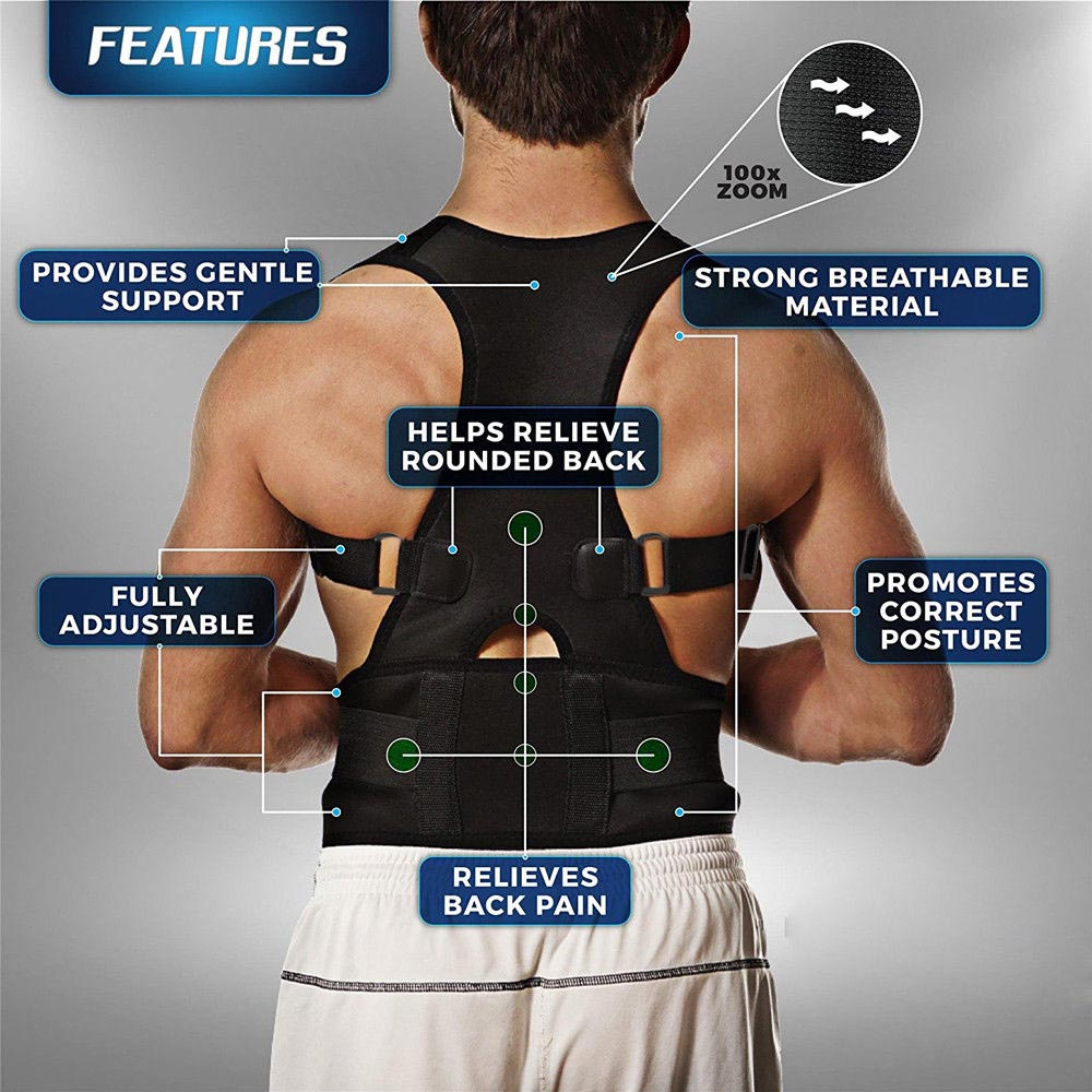 Unisex Brand New Adjustable Posture Support Brace Magnet Therapy Straps Back Neck Corrector Spine Support Brace