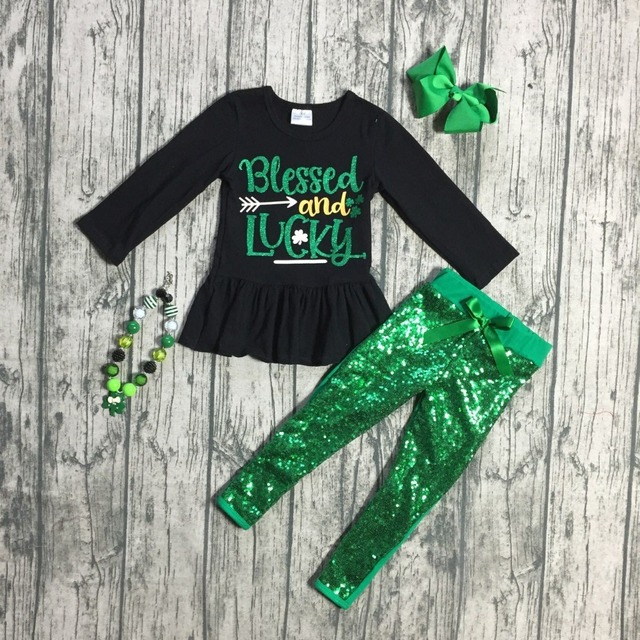 new St.Patrick day girls 2 pieces top with sequin pants sets clothing girls  blessed and lucky St patrick outfits with accessorie 974af1957666
