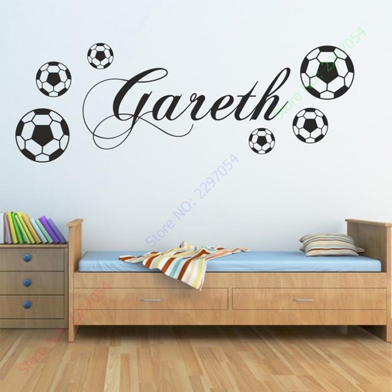Nou PERSONALIZAT FOOTBALL autocolant de perete sport băieți nume - Decoratiune interioara