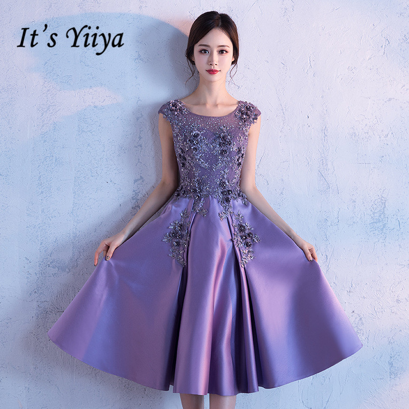 It's YiiYa Luxury Purple O-neck Sleeeveless Backless Formal   Dresses   Bling Sequined Knee-Length   Cocktail     Dress   MX004