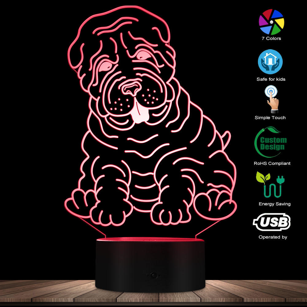 Shar Pei Light Dog Breed 3D Illusion Light Modern LED Lamp Acrylic Sign Children Bedroom Night Light With Multi Color Changes