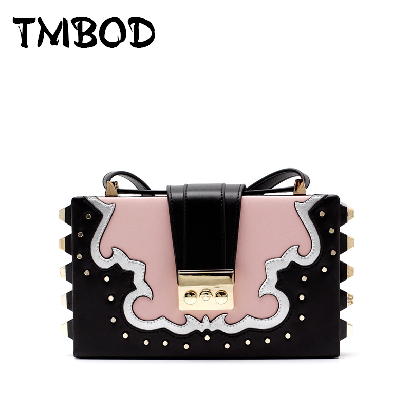 Hot 2017 Classic Trunk Crossbody Bag with Studs Panelled Women Split Leather Handbags Lady Bag Messenger Bag For Female an703 hot 2017 classic cute bow crossbody bag with studs women split leather handbags lady bag messenger bag for female an735