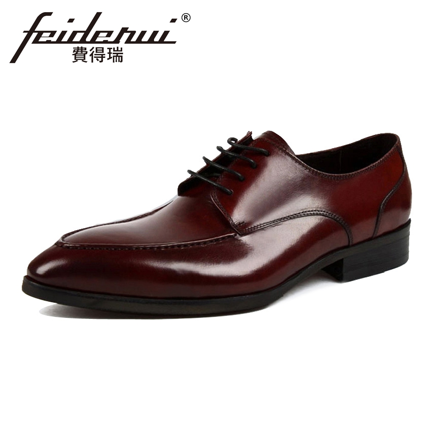 Fashion Round Toe Lace-up Handmade Men's Office Footwear Genuine Leather Derby Man Formal Dress Wedding Party Shoes YMX367 plus size new arrival men s formal dress office footwear genuine leather round toe lace up man derby wedding party shoes ymx410