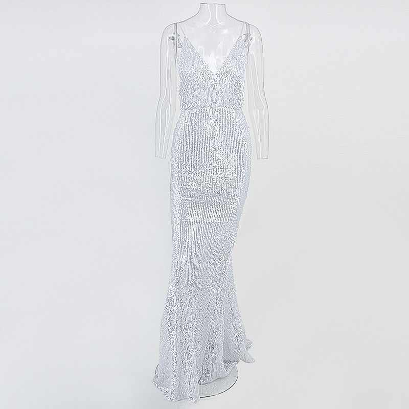328f22698b Yissang Sexy V Neck Dress Backless Women Sequin Maxi Long Dress High Waist  Summer Autum Elegant Party Dresses Ladies Vestidos