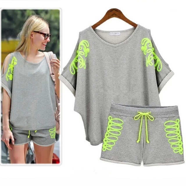2016 Summer New Fashion Women Strapless Piece Fitness Suit Casual Loose Short-Sleeved Sweater Suit Female 2 piece Set