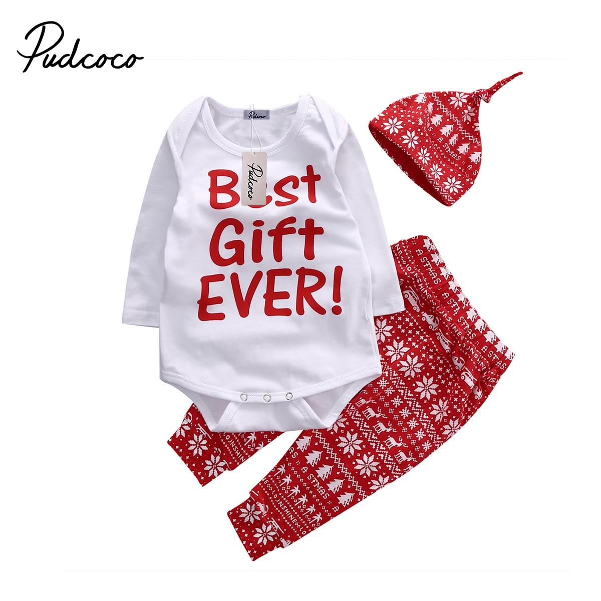 2018 Christmas Snowflake Baby Kids Girls Boys Xmas Long Sleeve Bodysuit Top+Pant+Hat NewYear Clothes Set 0-18M