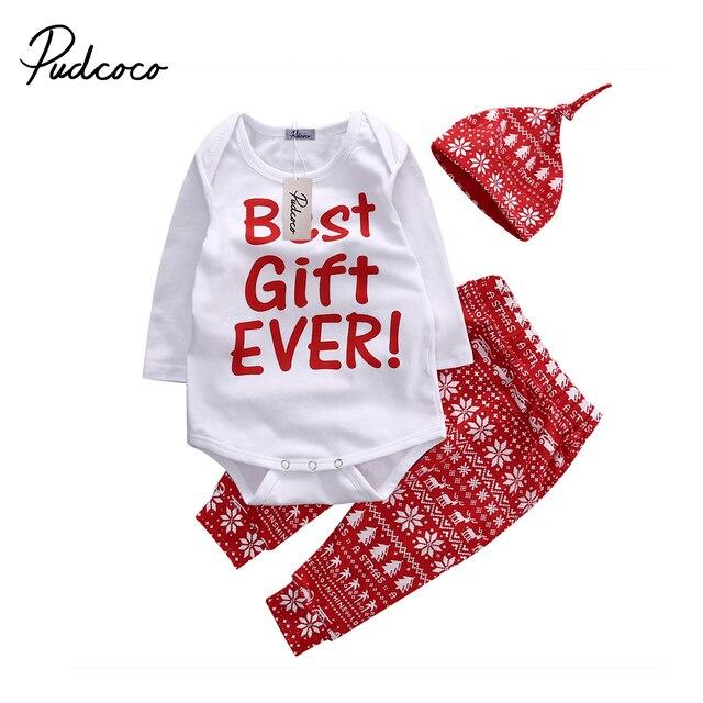 9891d23da 2018 Christmas Snowflake Baby Kids Girls Boys Xmas Long Sleeve Bodysuit Top+ Pant+Hat