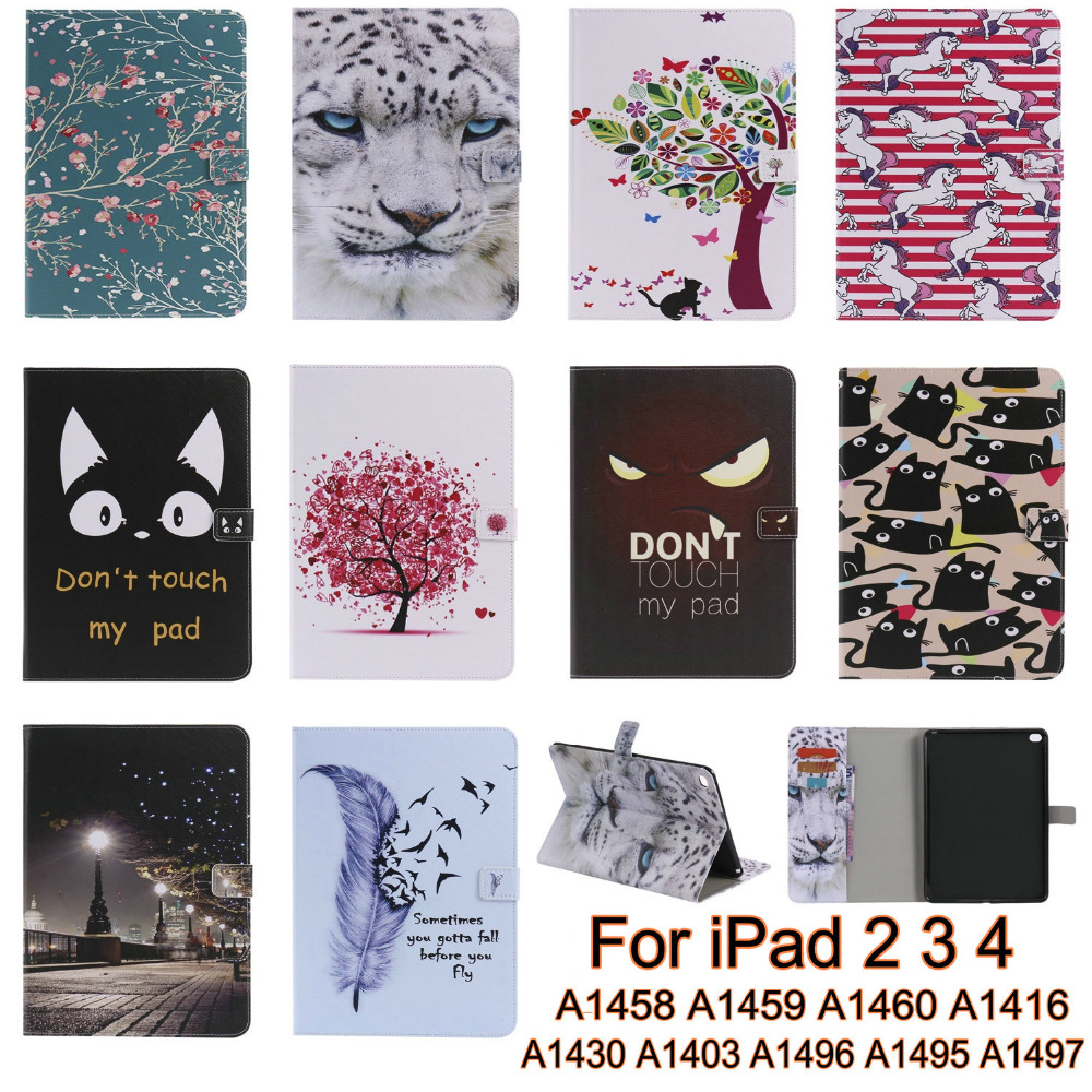 New Fashion Cute Cartrron Soft TPU Smart Tablet Case Cover For Apple iPad 2 iPad 3 iPad 4 Case Cover Kids Gift Screen Protector
