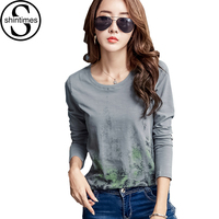 Graphic Tees Women Tshirt 2017 Print T Shirt Womens Long Sleeve Tops T Shirt Femme Femme